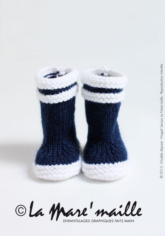 Les originales : Bottes de marin en laine bleue pour bébé