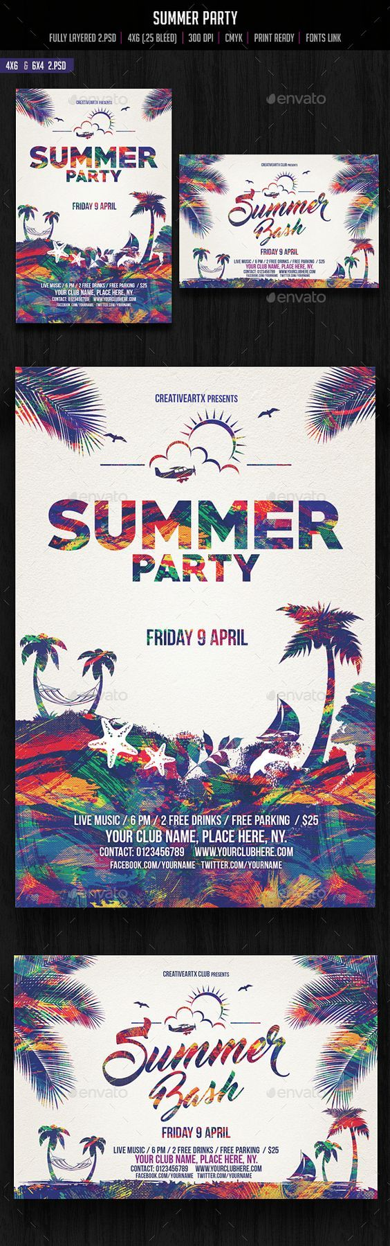 Summer Party Flyer Template PSD. Download here: http://graphicriver.net/item/summer-party-flyer/15140036?ref=ksioks: