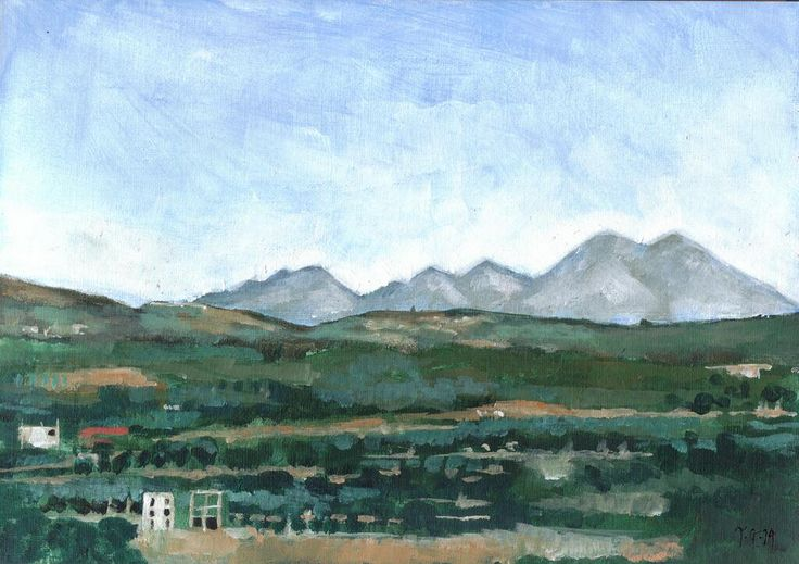 #thedailysketch Plein air paint sketch I did of mountains near Rethymno in Crete.  Embedded image permalink