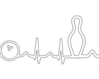Download EKG bowling ball and pin outline SVG file | Bowling t ...