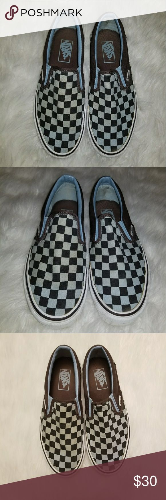 "Vans Slip-On Black & Blue Checkerboard Worn once. 100% authentic. These are so old that they don't even fit anymore, and I do not believe this color combo is for sale anymore. These have been worn a max of three times and not for very long because they are too small. Unisex. Blue and black checker pattern with brown details. Like-new condition. No smell, just that default ""new Vans"" shoe smell. Vans Shoes Sneakers"