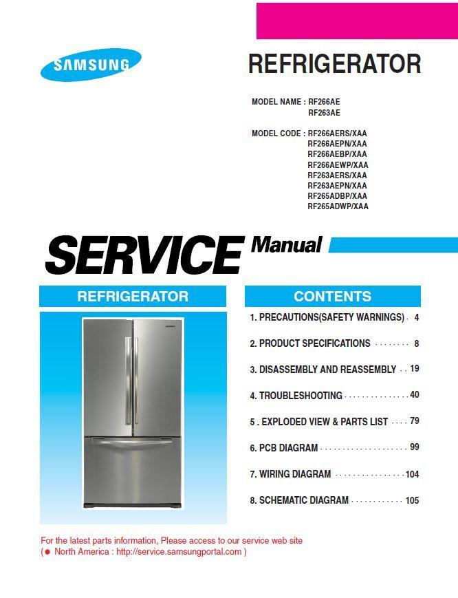 Samsung Rf266aers Rf266aepn Rf266aebp Rf266aewp Refrigerator Service Manual Refrigerator Service Samsung Samsung Refrigerator