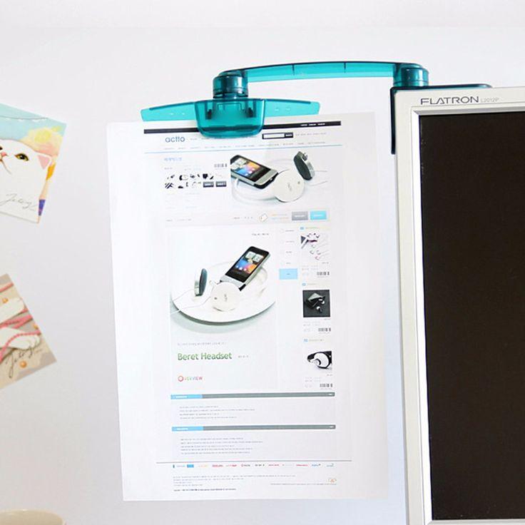Plegado de 360 ??° de rotación Pantalla Soporte de documentos de archivo de papel Soporte de clip de montaje para computadora PC LCD