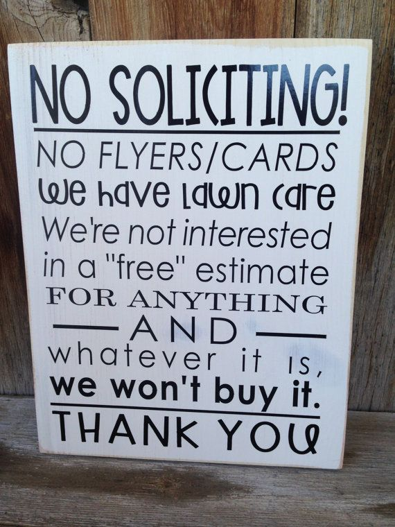 NO SOLICITING sign for your front door/porch. Wooden by invinyl $15.00 & 7 best No solicting signs images on Pinterest | Front entrances No ...