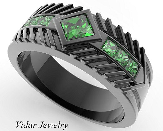 Menu0027s Wedding Band 14K Black Gold Princess Cut Emerald,Unique Wedding Ring,Mens  Wedding