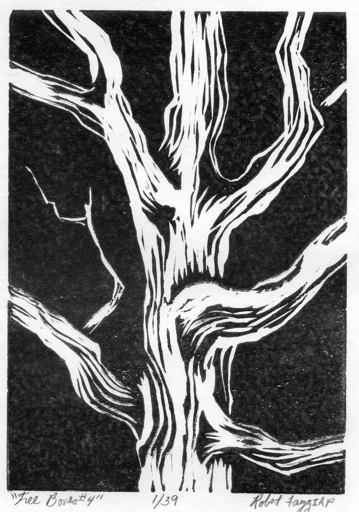 Tree Bones 4 is a traditional lino print from a limited edition