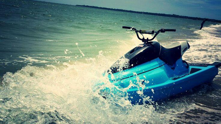 Jet ski beach water 1993 blue waveblaster