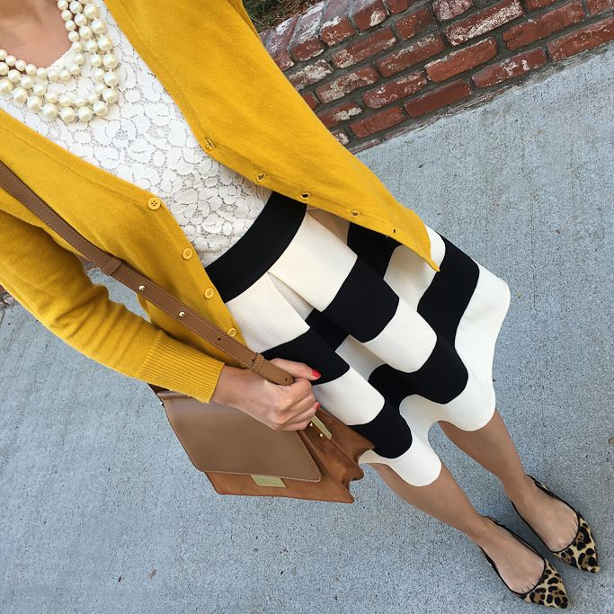 stripe it lucky skirt, mustard cardigan, lace top,  leopard viv flats, abril shoulder bag, faux pearl necklace - click the photo for outfit details!