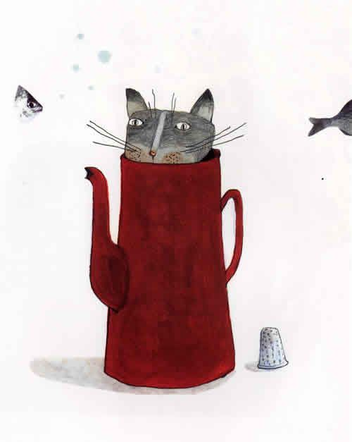 Anne Herbauts - cat in coffee pot