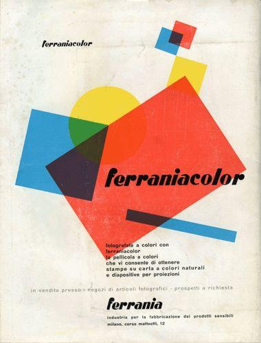 Pagina pubblicitaria Ferrania (1953) Design by Luigi Veronesi