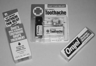 Over-the-counter toothache medicines will help ease the pain from a toothache or broken tooth. Many are available, including those containing eugenol (oil of cloves), such as Red Cross Toothache Medicine, benzocaine, such as Orajel, and those containing both, such as Dents Toothache Drops.