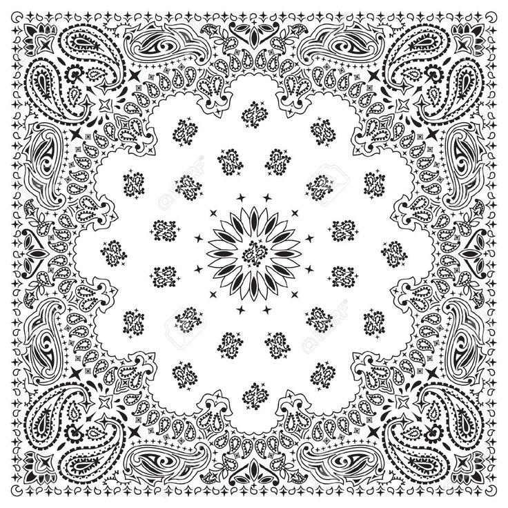 5657567-White-bandana-with-black-ornaments-Stock-Vector-bandana-bandanna-paisley.jpg (1300×1300)