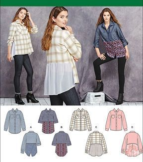 Simplicity Patterns Us1013R5-Simplicity Misses' Shirt With Fabric Variations-14-16-18-20-22
