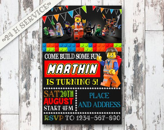 Lego Chalkboard Birthday Invitation Design, Lego Birthday, Lego Invitation, Lego Birthday Invitations