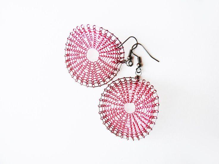 pink earrings, earrings, wire earrings by ARTinsSK on Etsy