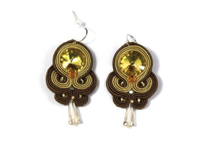 Chandelier Earrings – GOLDEN BROWN Soutache earrings – a unique product by betulek on DaWanda  #earrings   #kolczyki   #soutache   #art   #jewelry   #jewellery   #gift   #beauty   #fashion   #style   #reiki   #quality #trendy  #giftideas   #handmade   #handmadejewelry   #buyhandmade   #earings   #betulek   #bybetulek   #jewel   #look