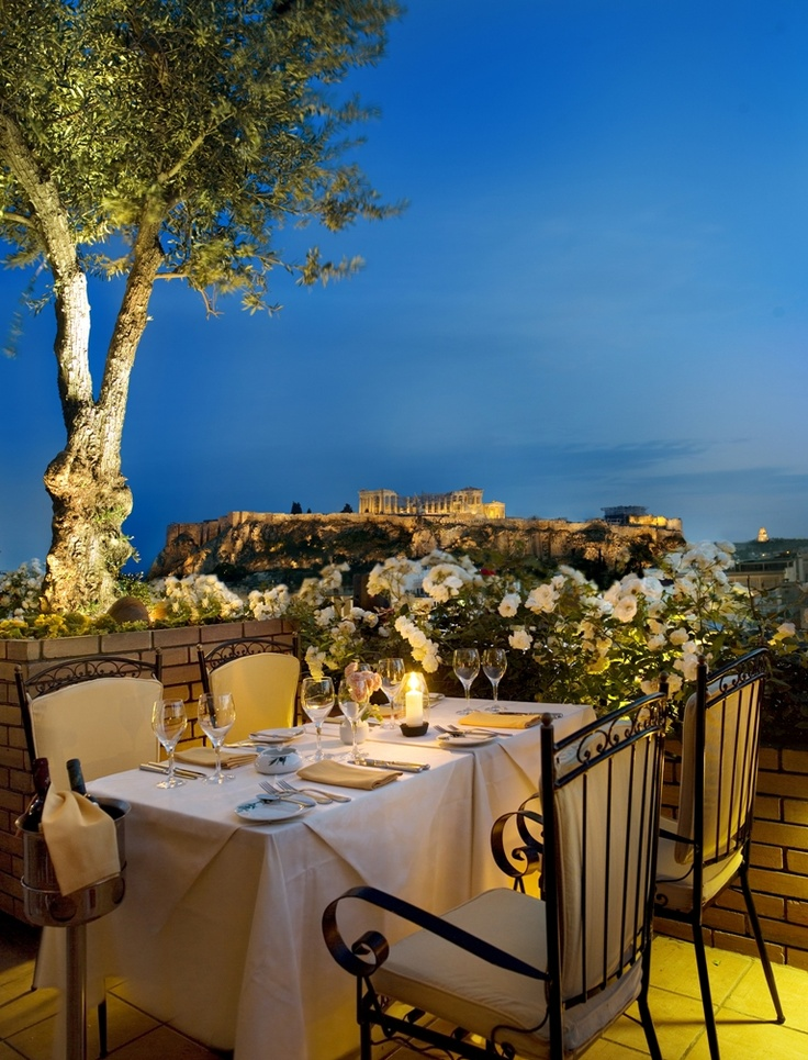 The Olive Garden in Athens, Greece. Fabulous view and food.