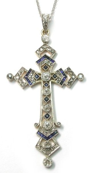 Edwardian Diamond Sapphire Platinum & 18k Yellow Gold Cross Pendant