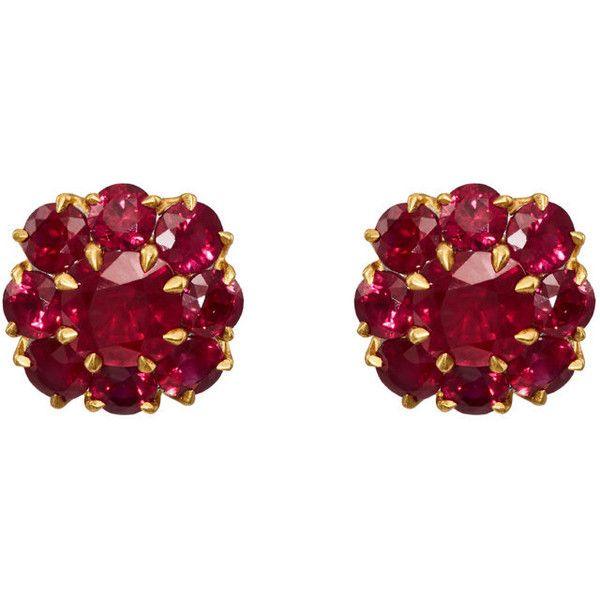 McTeigue & McClelland Women's Berry Cluster Ruby Stud Earrings ($20,000) ❤ liked on Polyvore featuring jewelry, earrings, gold, 18k jewelry, round stud earrings, 18 karat gold jewelry, polish jewelry and 18 karat gold earrings