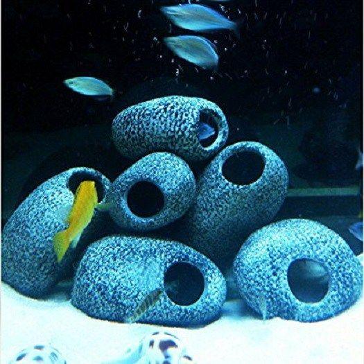 Fish Bowl-Aquarium Cichlid Stones Ceramic Rock Cave Ornament