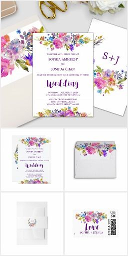 Purple Pink and Blue Flowers Wedding Invitation Collection Wedding invitation suite featuring bright magenta, pink, plum purple and blue flowers, and a lovely bold script font for modern brides. This floral wreath monogram wedding collection includes all of the essentials, and more! Invitations, envelopes, stamps, labels, belly bands, five RSVP options, enclosure cards, save the date, thank you cards, and also, all of the paper for your ceremony and reception.