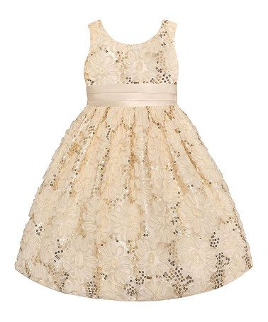 Look what I found on #zulily! Candlelight Sequin Floral Dress - Toddler & Girls by American Princess #zulilyfinds
