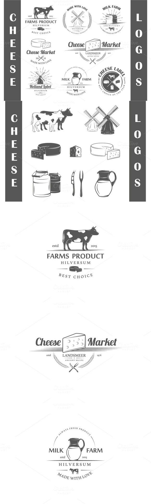 8 Cheese logos templates. $8.00