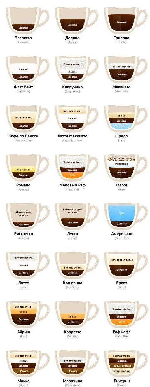 Для истинных ценителей кофе: все виды напитка на одной картинке. Стань экспертом!