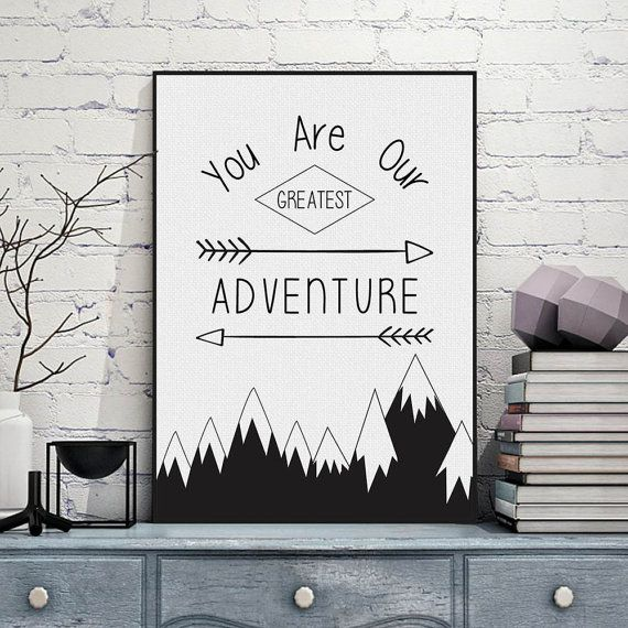 Freeshipping Nordic Minimalist Black White Typography Adventure Quotes Art Print Poster Nursery Wall Art Boy Room Canvas Painting Home Decor by PicSaying