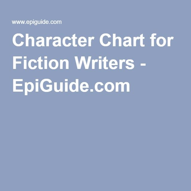 Character Chart for Fiction Writers  EpiGuidecom