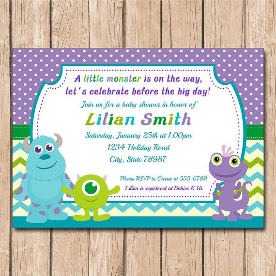 Monsters Inc. baby shower   Mini Monsters Inc. Baby Shower Invitation   Boy or Girl, Neutral - 1 ...
