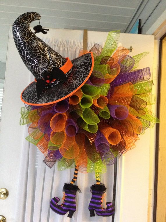 Halloween Witch Legs Deco Mesh Wreath by MonkeeBizness on Etsy, $85.00
