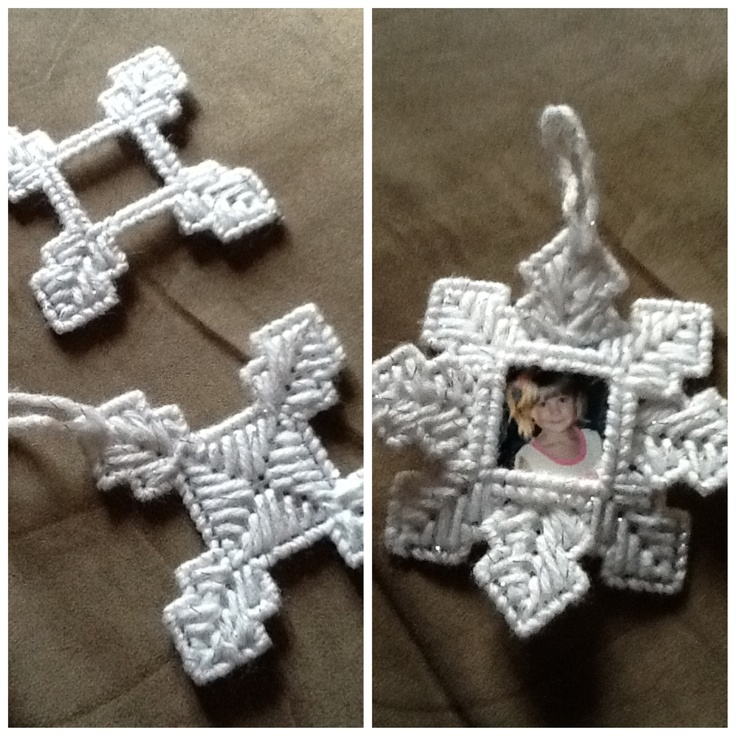 Plastic  canvas christmas  picture ornament. Use pattern from my board