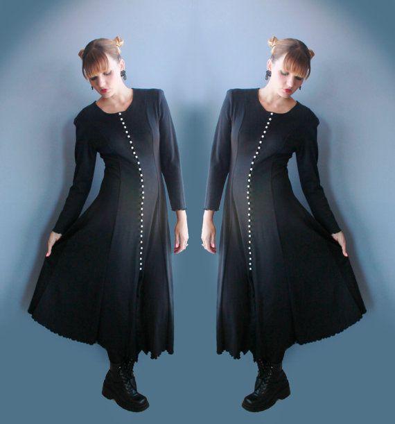 90 ' s Goth Maxi robe manches longues robe longue noire avec perle blanche boutons jupe pleine longueur Grunge sorcière robe taille moyenne grande