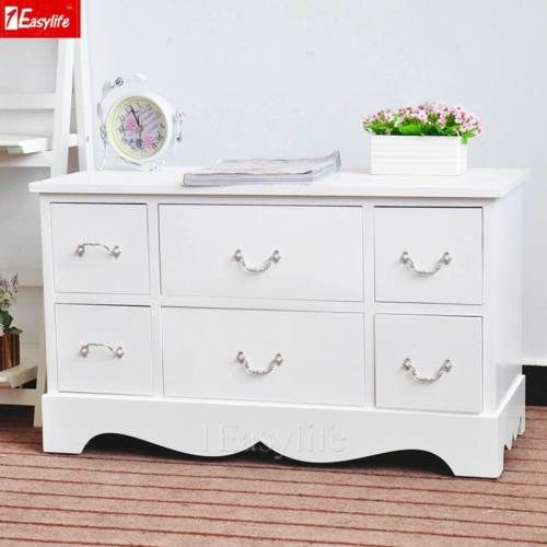 White Chic Wooden Tv Cabinet Stand Unit With 6 Drawers Sideboard Home Furnitur