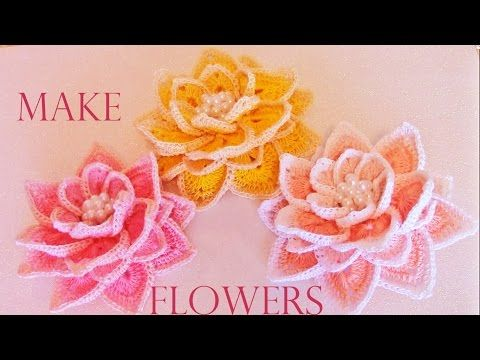 Como tejer fácil rápido hermosas flores de una sola tira - How to make knitting…
