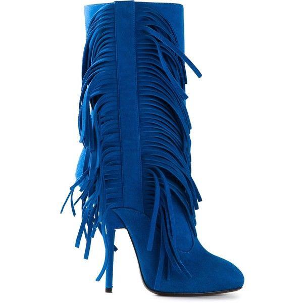 Giuseppe Zanotti Design fringed boots ($820) ❤ liked on Polyvore featuring shoes, boots, giuseppe zanotti, giuseppe zanotti boots, blue shoes, leather boots, blue suede fringe boots and fringe boots