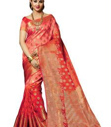 Buy Peach and Orange woven art silk saree with blouse tussar-silk-saree online