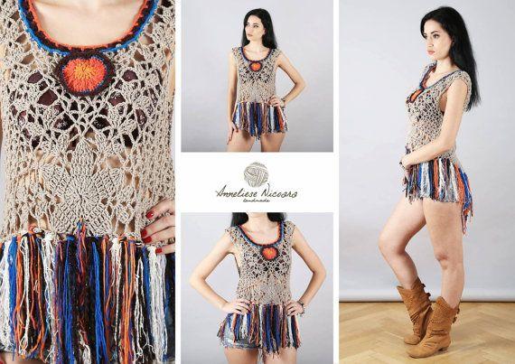 Hippie/gipsy Summer Top/Handmade crochet boho by AnnesMagicCrochet