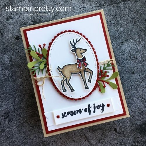 Learn how to create this simple Christmas card using Stampin' Up! Santa's Sleigh & Stampin' Blends Markers - Mary Fish StampinUp