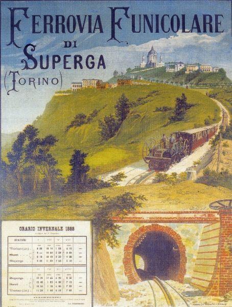 Torino/ Locandina con gli orari per la funicolare per Superga (1888)