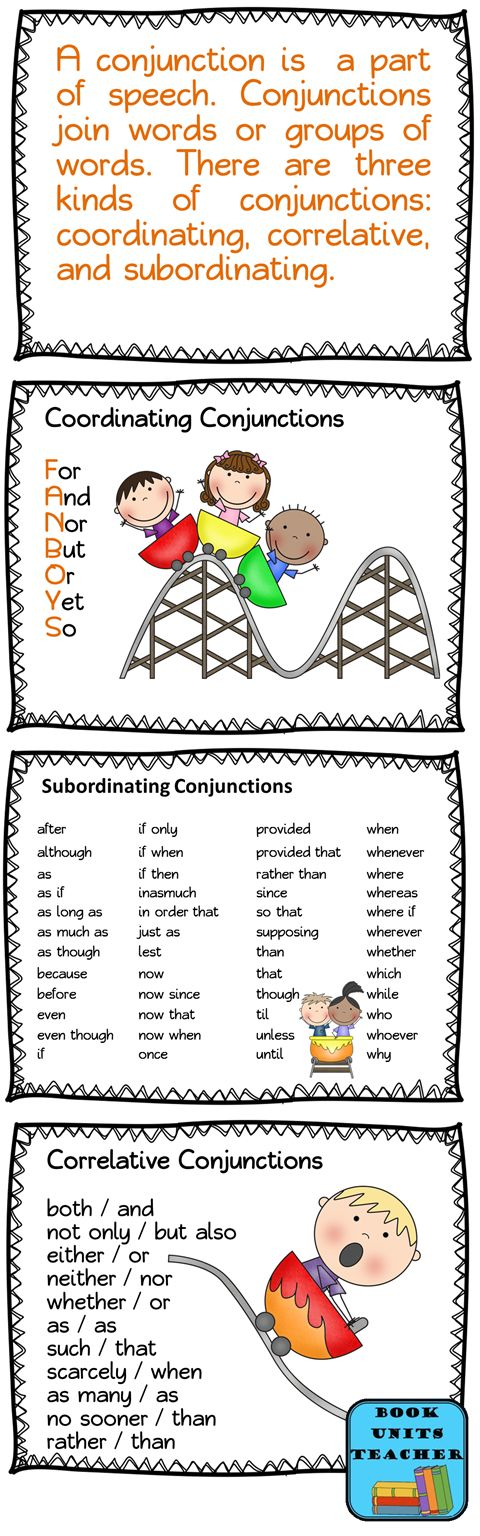 Parts of Speech ~ Conjunctions -Repinned by Chesapeake College Adult Ed. We offer free classes on the Eastern Shore of MD to help you earn your GED - H.S. Diploma or Learn English (ESL) . For GED classes contact Danielle Thomas 410-829-6043 dthomas@chesapeake.edu For ESL classes contact Karen Luceti - 410-443-1163 Kluceti@chesapeake.edu . www.chesapeake.edu