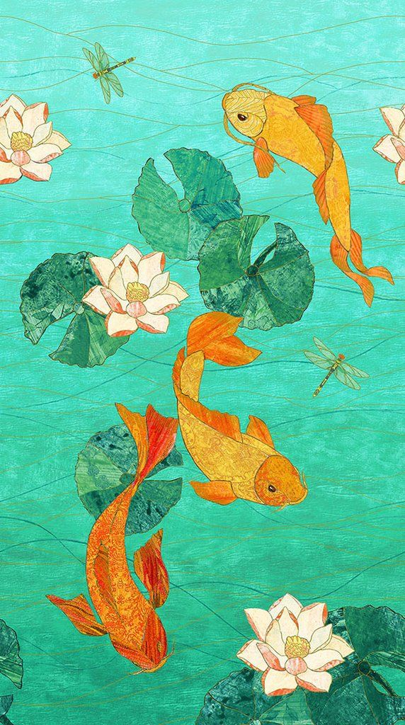 Asian Koi Pond Panel Shibori Dragon Koi Art Japanese Art Aesthetic Art