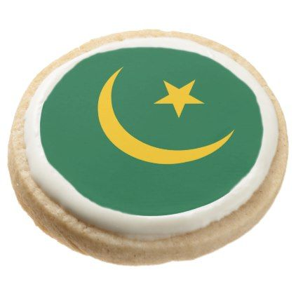 Mauritania Flag Round Shortbread Cookie - kitchen gifts diy ideas decor special unique individual customized