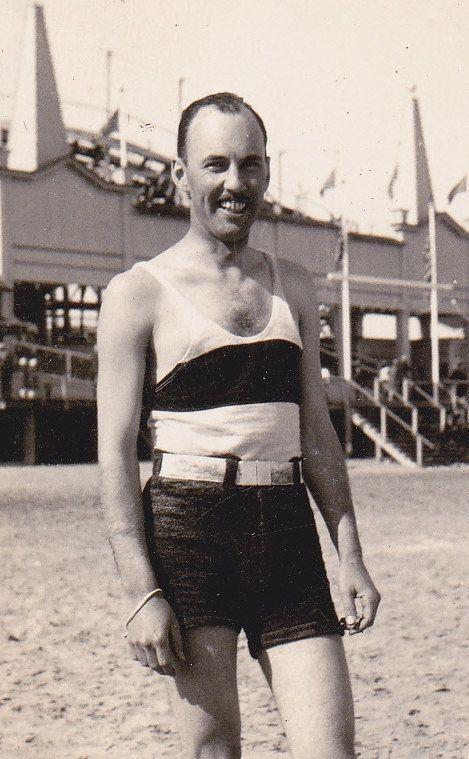 Handsome Man with Mustache in Beach Attire 1920S