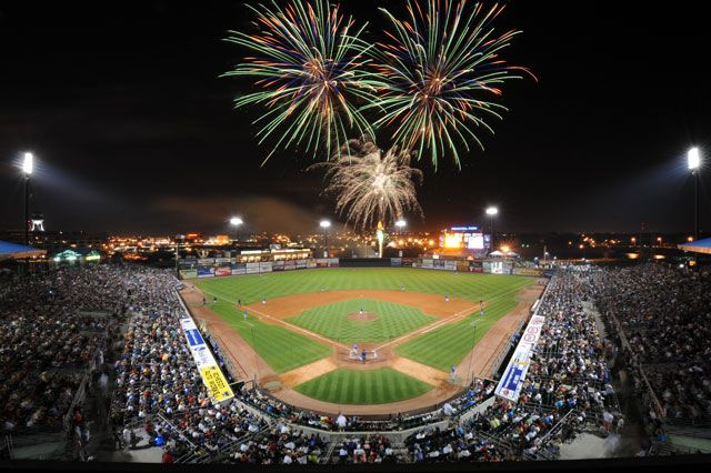 Des Moines, IA - The fan-friendly games of the Iowa Cubs, the Chicago Cubs' triple-A affiliate, make for fun summer nights in Principal Park, where the capitol shines over the outfield wall. On Fridays, fireworks follow the games.
