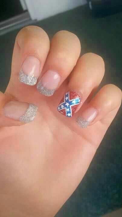 Rebel flag nails cute