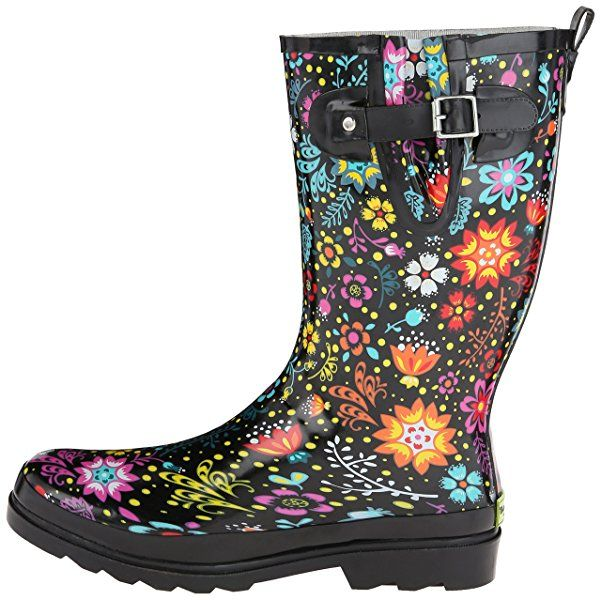 Western Chief Women's Garden Play Rain Boot, Black, 11 M US