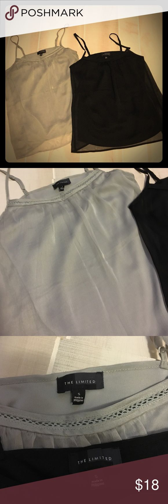 Black and silver cami's! The perfect cami by Limited! Black and silver cami's are lined with sheer flowy overlay. Can be worn under a jacket, for layering, and/or by itself! Great condition. Willing to sell separate if interested, just send me a message! The Limited Tops Camisoles