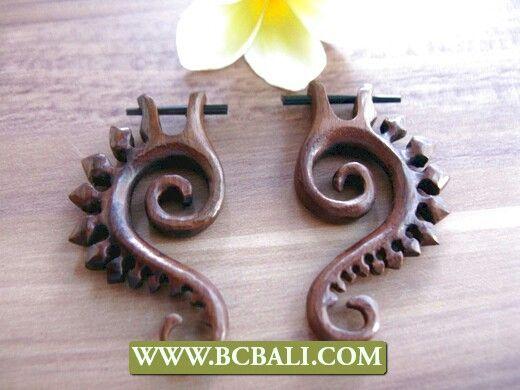 Bali handmade wood carved earring